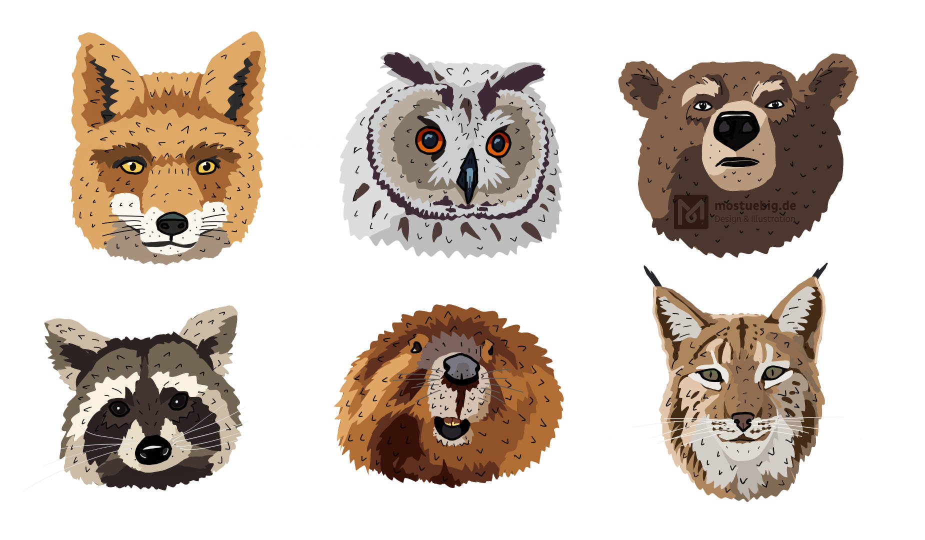 Illustration von 6 Tierköpfen in zwei Reihen. Fuchs, Eule, braunbär, Waschbär, Biber und Luchs