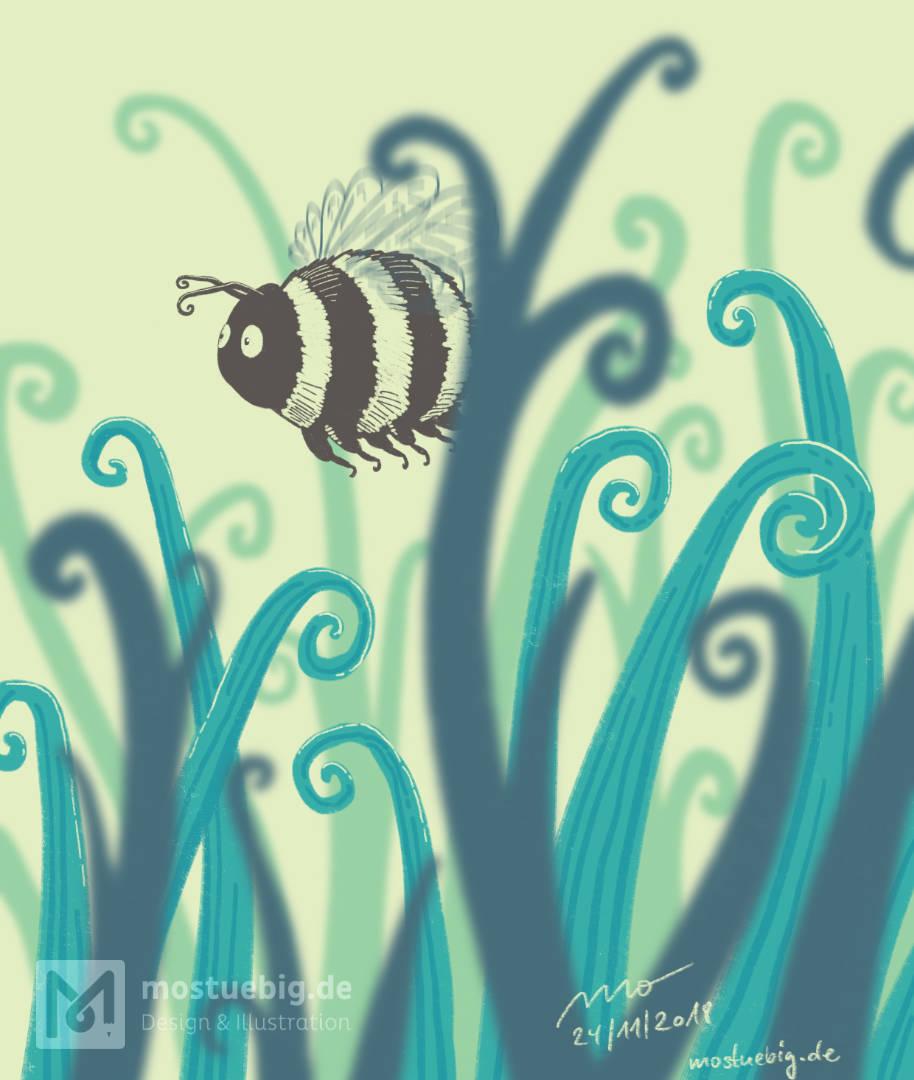 Illustration einer cartoon Hummel, die über eine Wiese fliegt