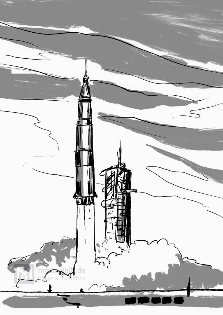 Illustration einer startenden Saturn 5 Rakete