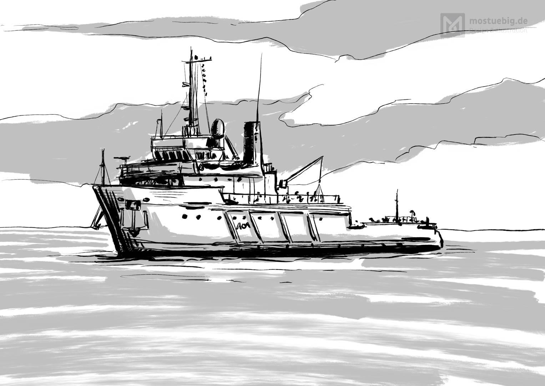 Illustration eines Zerstörer Schiffes