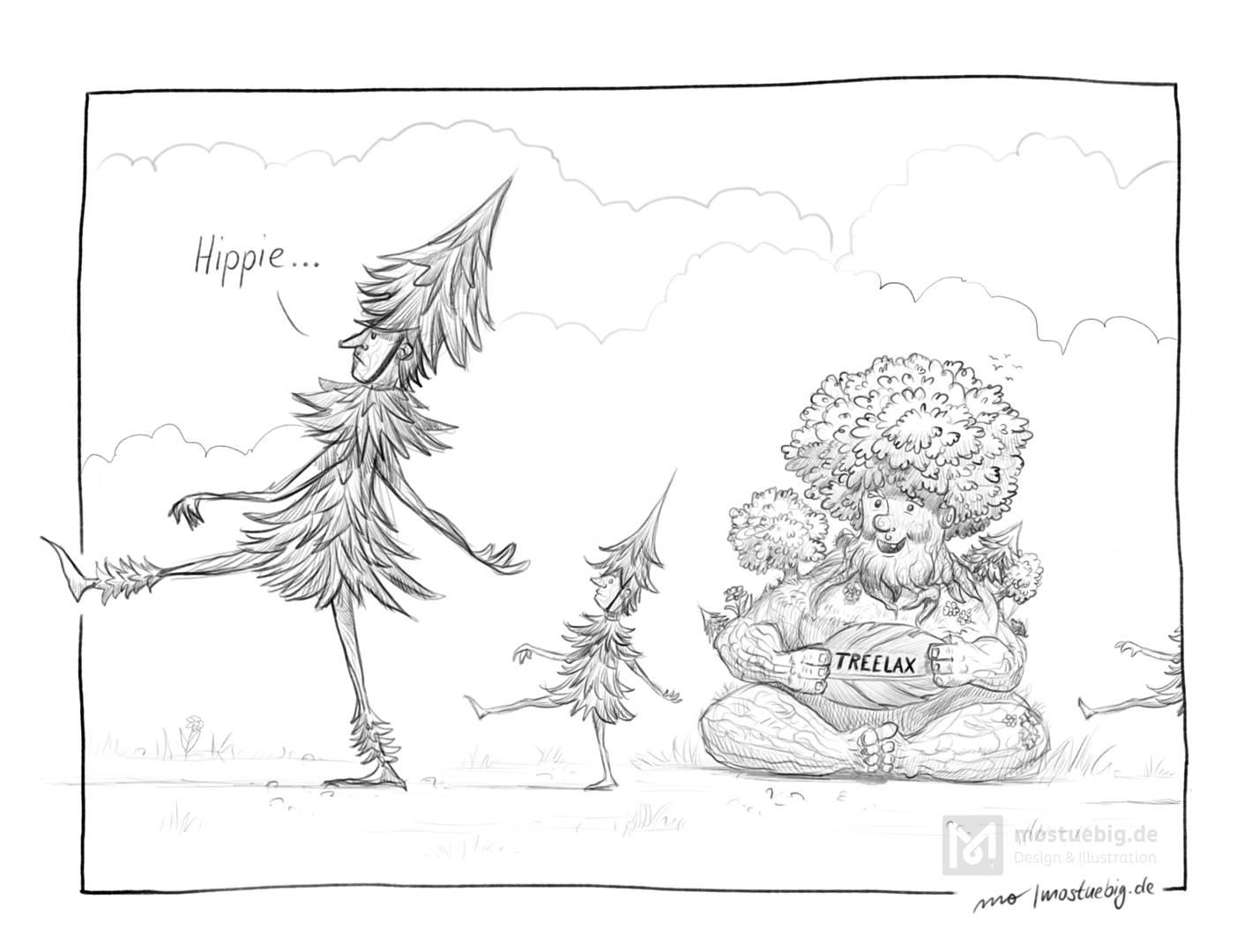 Schwarzweißillustration. Eine Vatertanne läuft mit erhobener Nase zusammen mit seinen beiden Tannenkindern an einem Mischwald vorbei, der ein Schild »Treelax«. Vatertanne sagt dabei »Hippie«