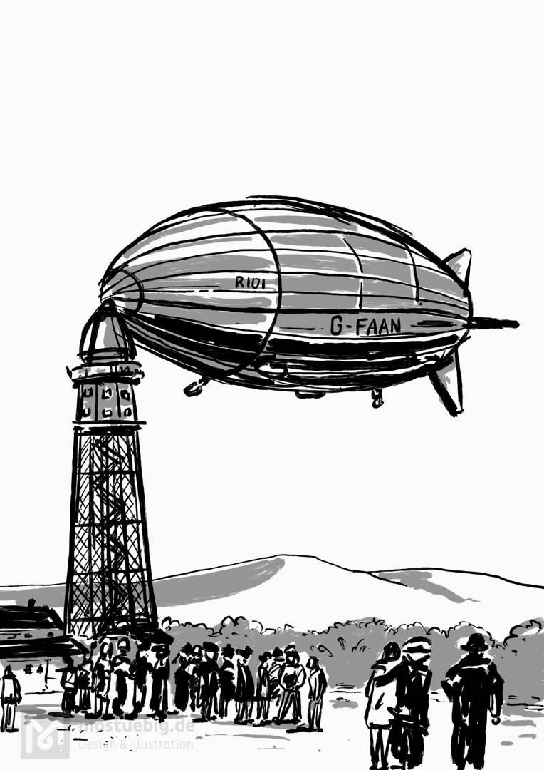 Illustration eines Zeppelins, der an einem Turm geankert hat.