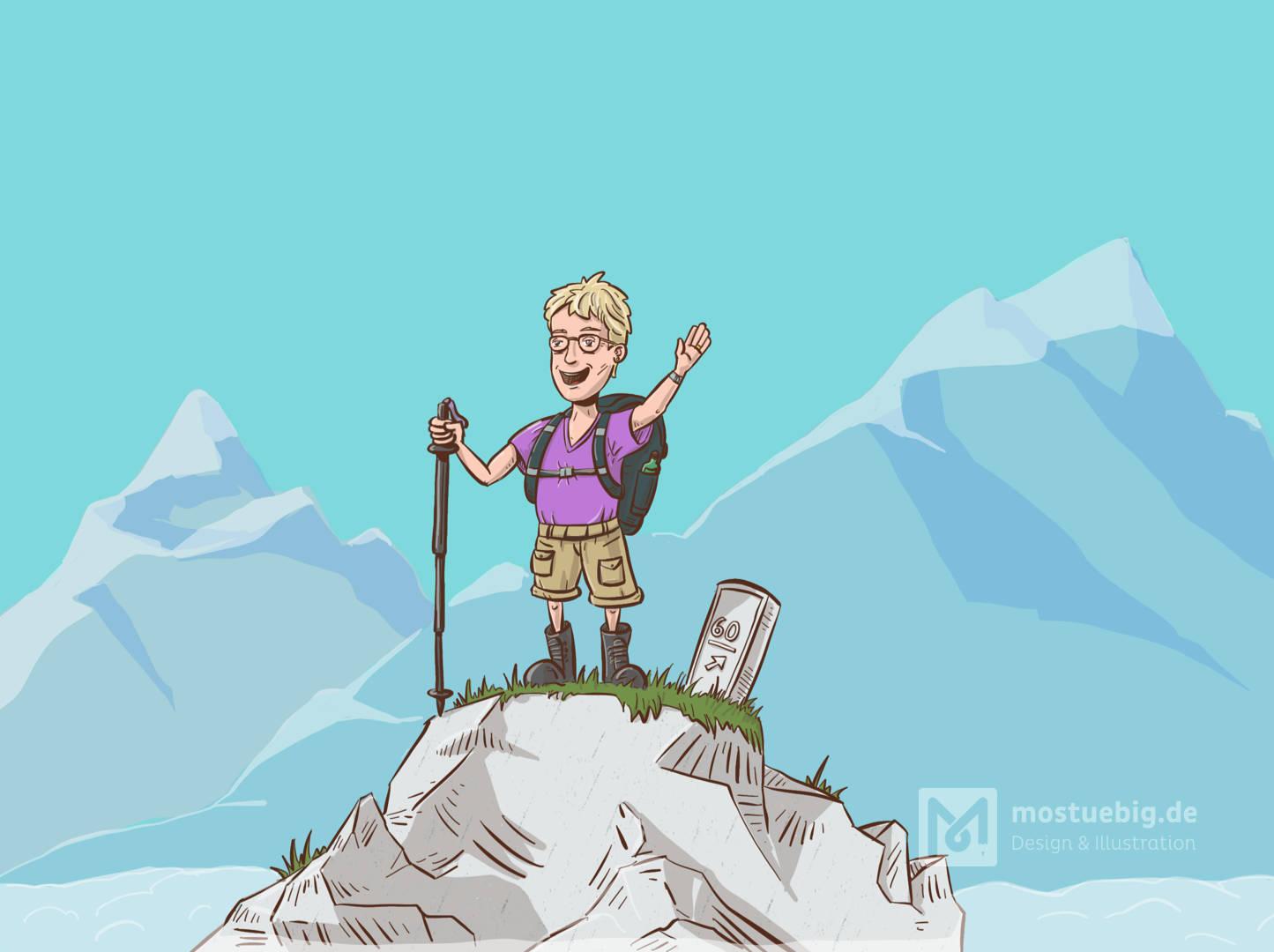 Illustration einer Frau in Wanderleidung auf einem Berg.