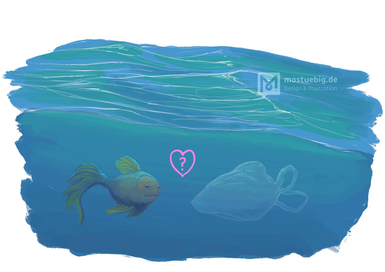 Ein Fisch im Meer sieht eine wie ein Fisch geformte Plastiktüte. Über ihm ein Herz mit Fragezeichen