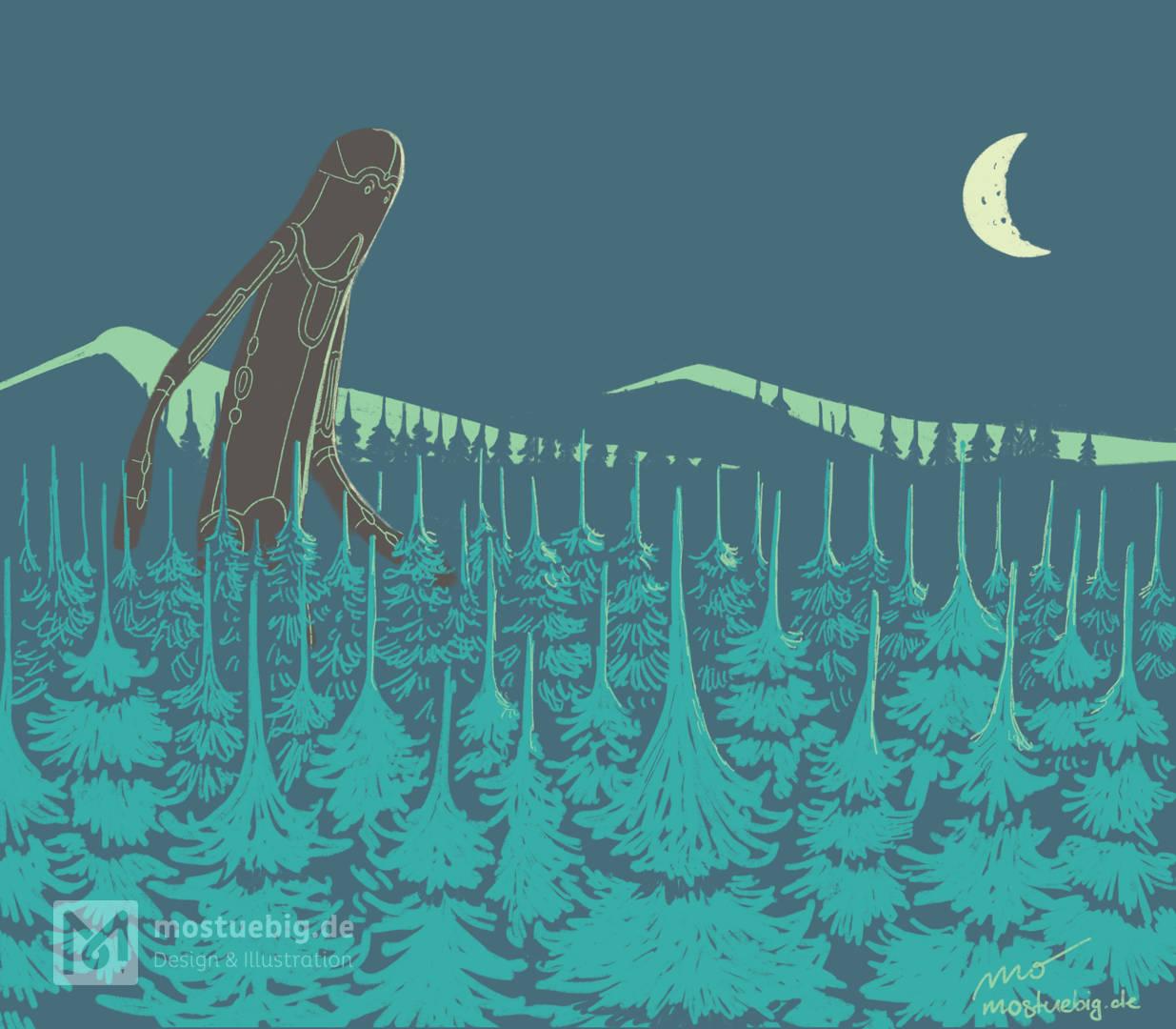 Illustration riesenhaften Waldgeistes, der bei Mondschein durch einen Nadelwald streift..