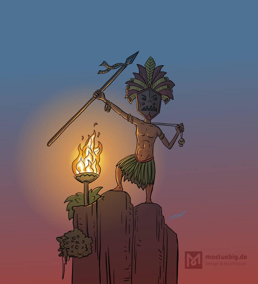 Illustration eines Eingeborenenhäuptlings bei Dämmerung und Feuerschein mit erhobenem Speer