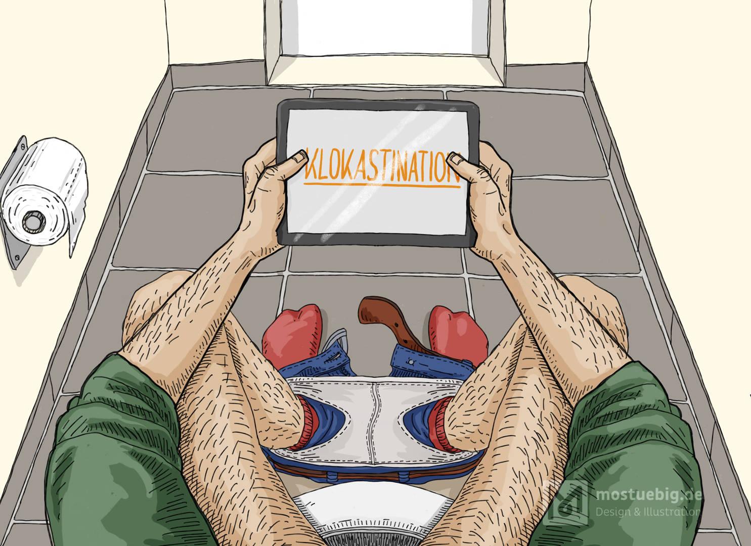 Illustration eines Mannes, der auf der Toilette sitzt. aus seiner PErspektive. Er schaut auf ein iPad, darauf steht »Klokastination«
