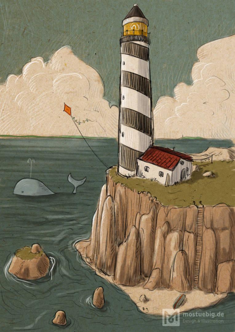 Illustration eines Leuchtturmes auf einer Klippe. Wolken im Hintergrund, im Wasser ein Wal.