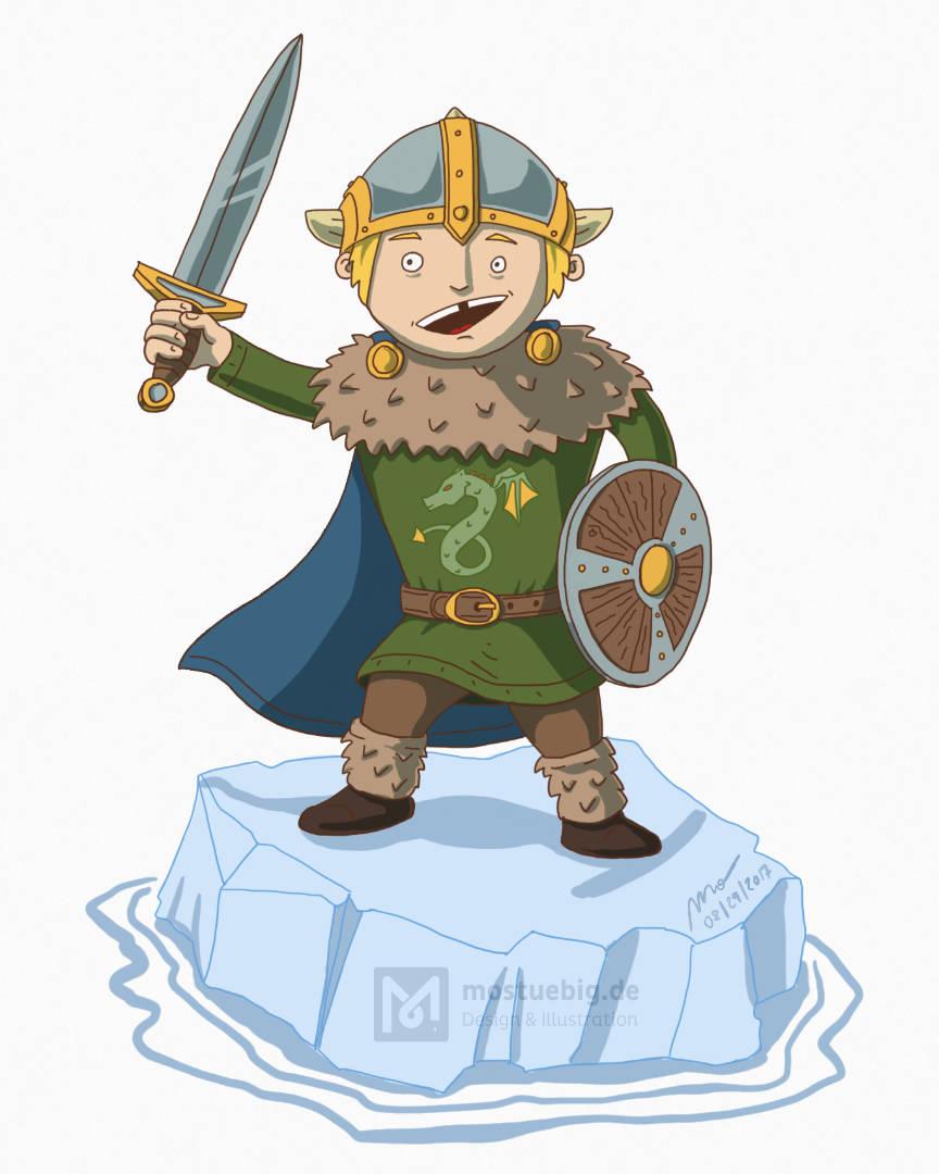 Illustration eines Cartoonvikingers mit Schwert, Rundschild und Umhang auf iner Eisscholle.