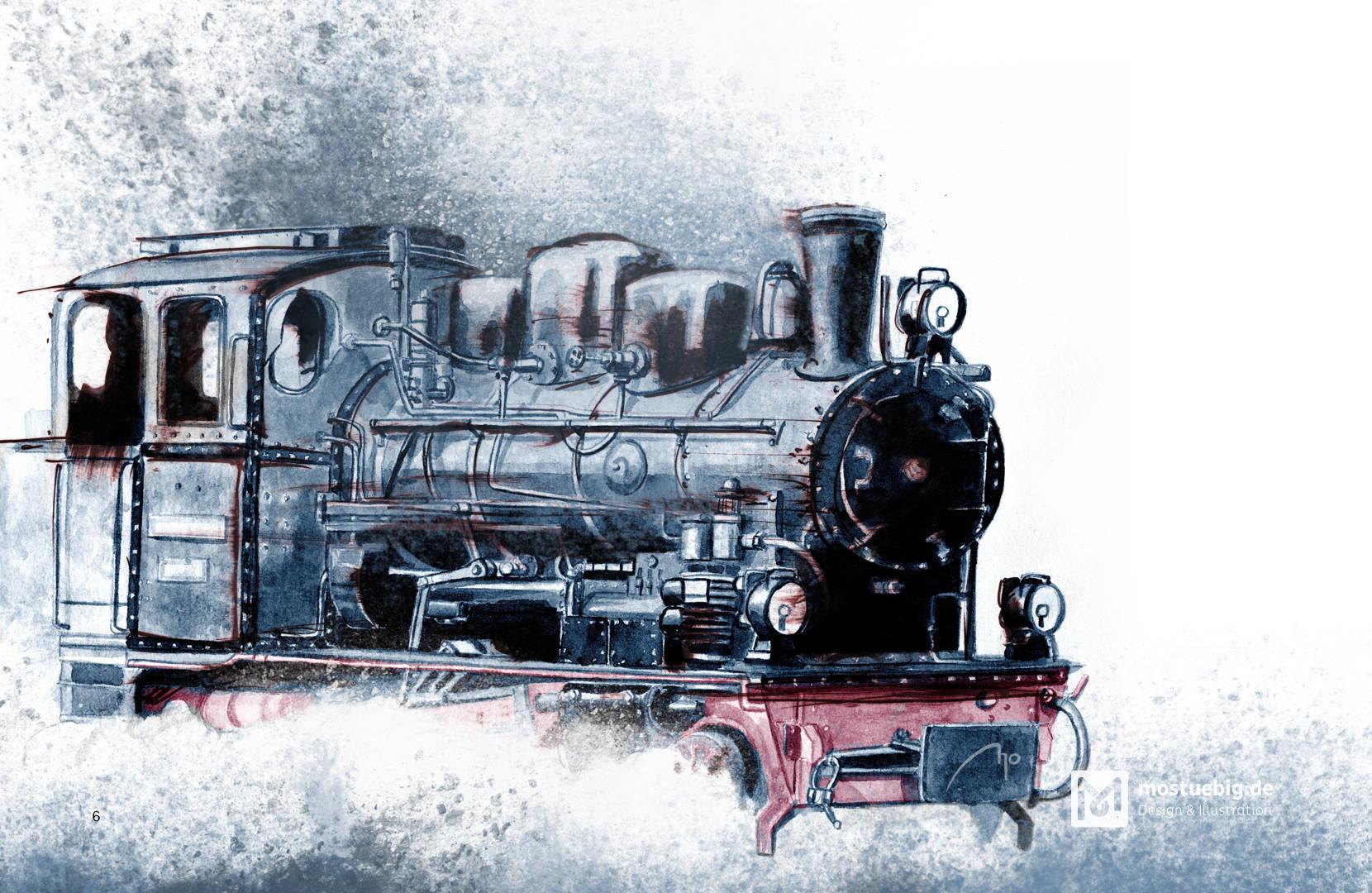 Illustration einer nach rechts fahrenden Dampflok. Mischtechnik Aquarell, digital