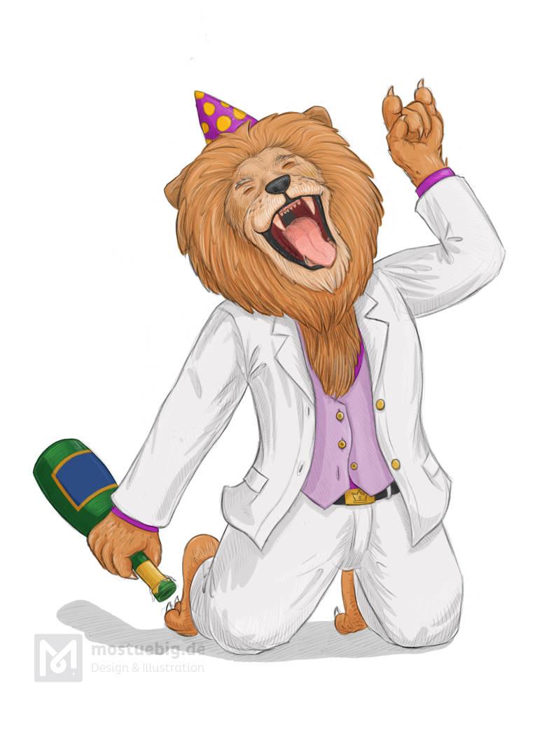Illustration eines Löwen in weißem Anzug. Er kniet und hält in der rechten Pfote eine Champagnerflasche, die andere Pfote ist als Rockzeichen in die Luftgestreckt. Er trägt einen Partyhut