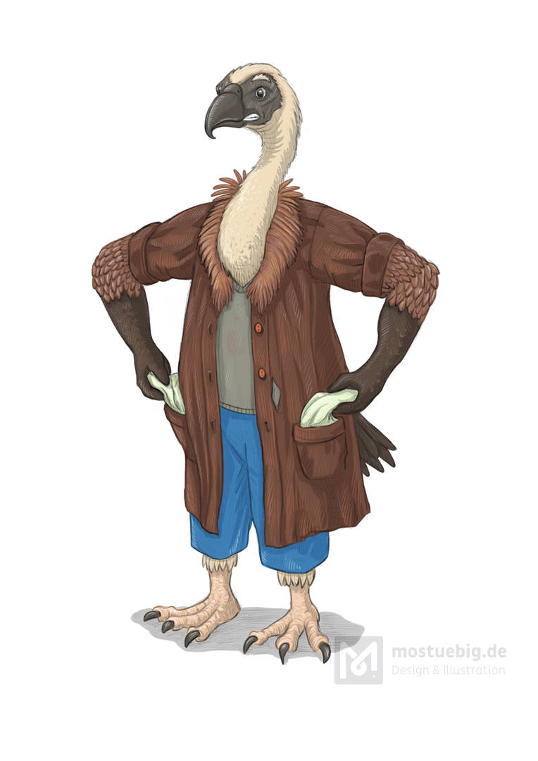 Illustration eines Geiers in einem Mantel, der seine Hosentaschen nach außen stülpt.