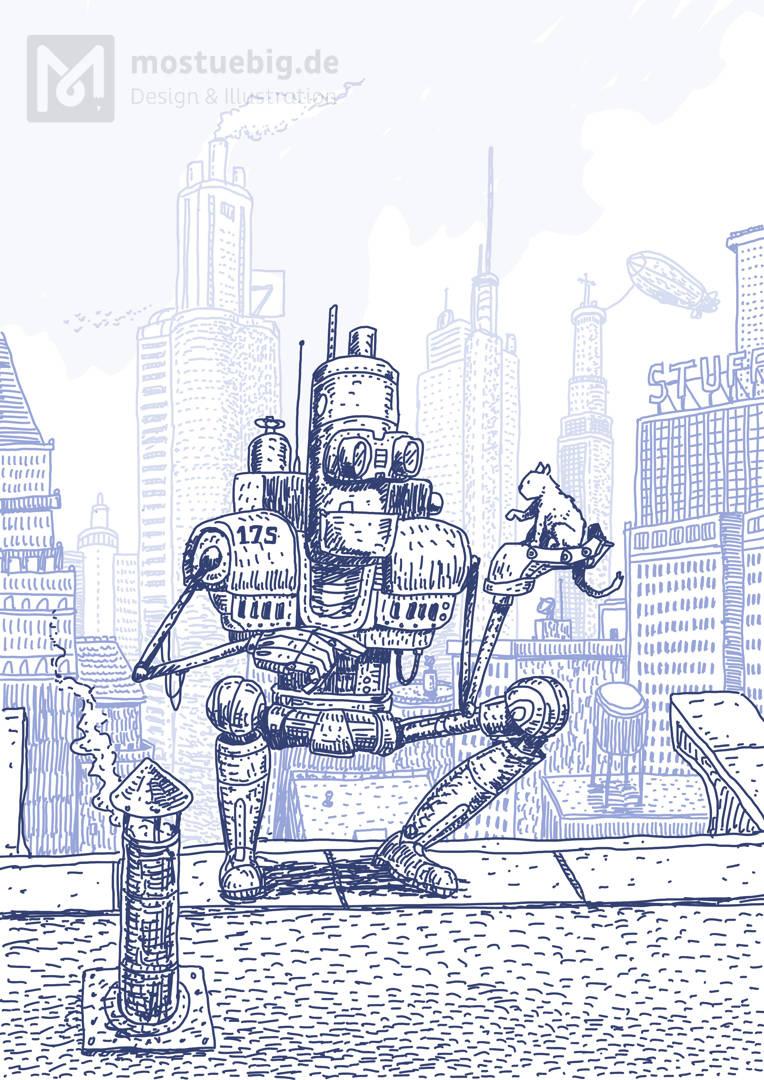 Illustration eines knienden Roboters auf einem Hochhaus. In der Hand hält er eine Katze. Im Hintergrund sind weitere Hochhäuser zu sehen.