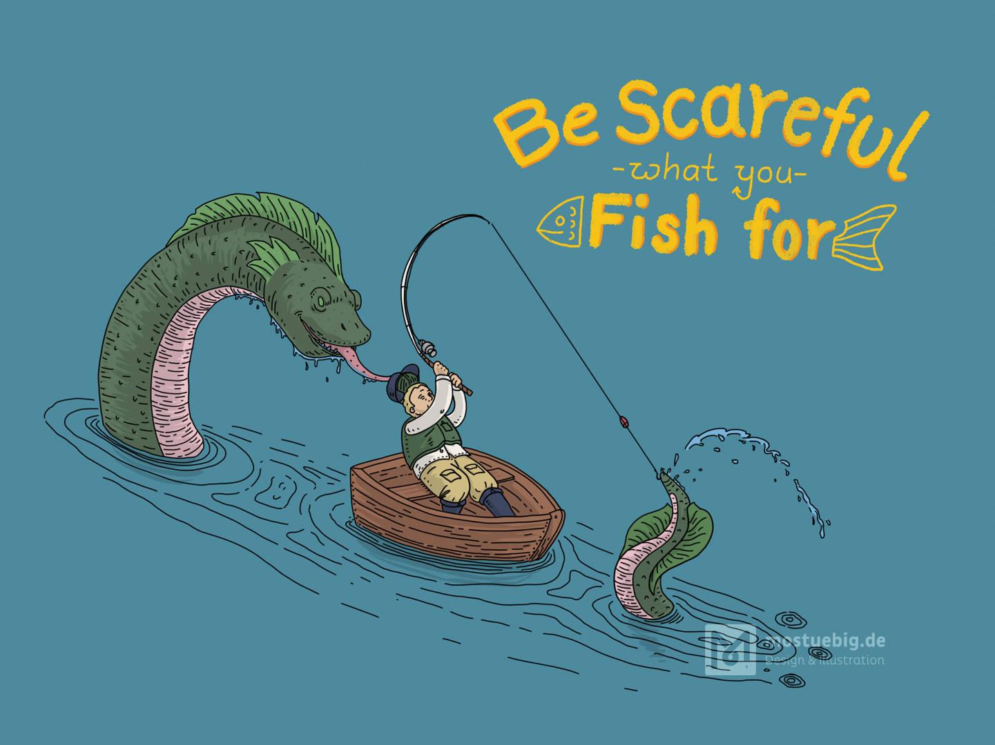 Illustration eines Fischers, der den Schwanz eines Seemonsters am Haken hat. Das Monster kommt hinter seinem Boot heraus. Darüber steht
