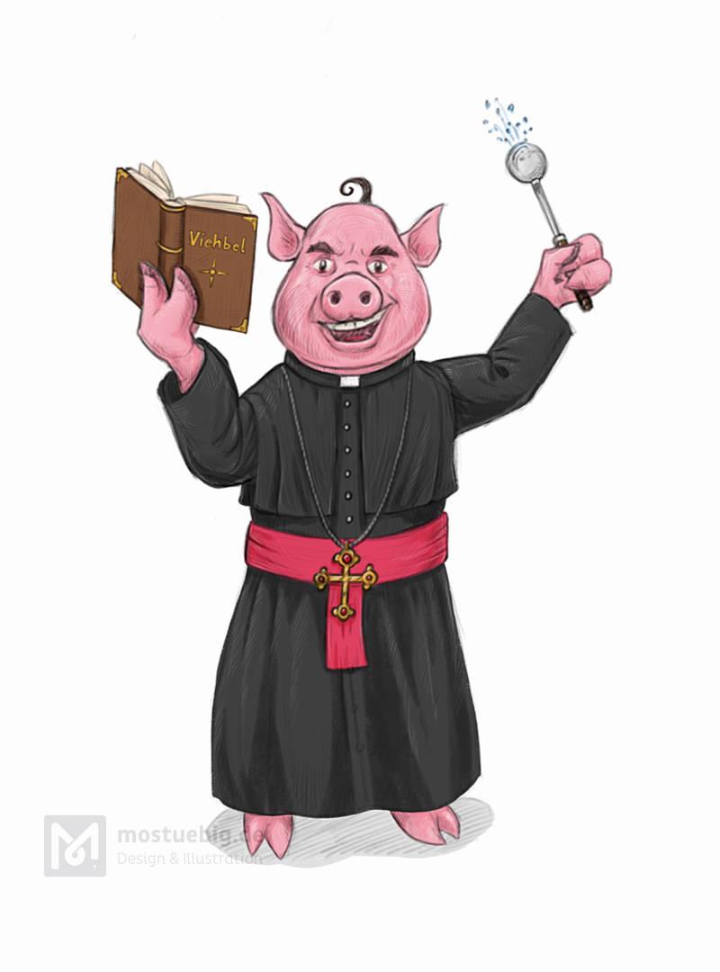 Illustration eines Schweines im Priestergewand. In der rechten Hand hält es ein Buch mit dem Titel »Viehbel«
