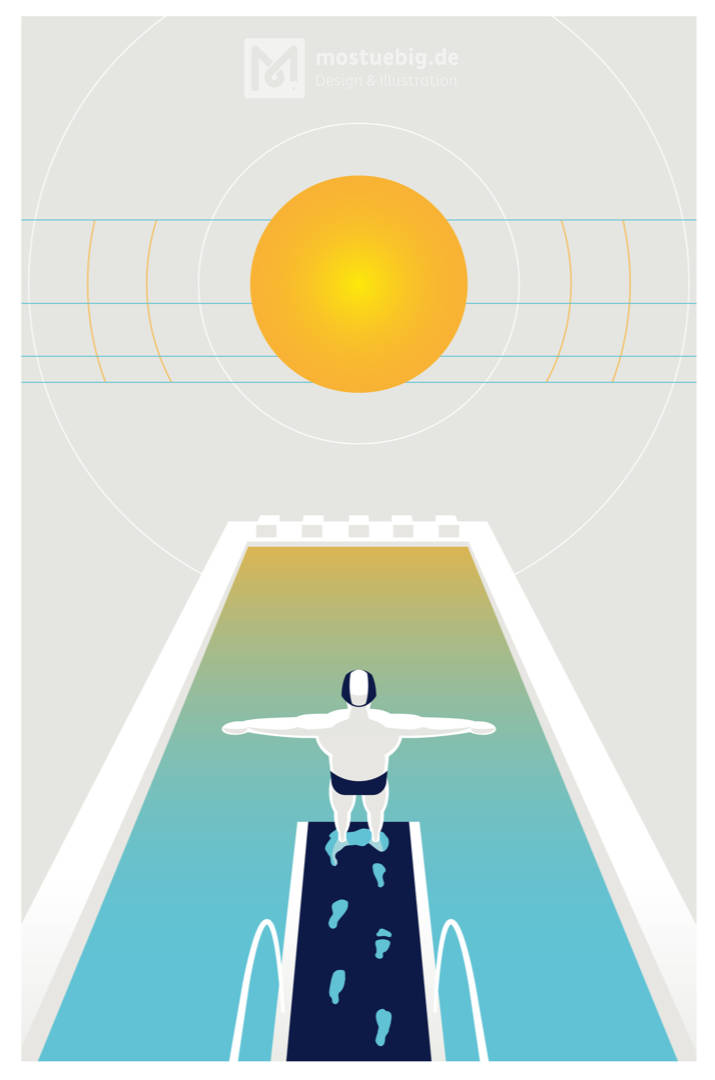 Grafische Illustration eines Turmspringers von hinten mit Blick auf das Becken. Darüber eine stilisierte Sonne.
