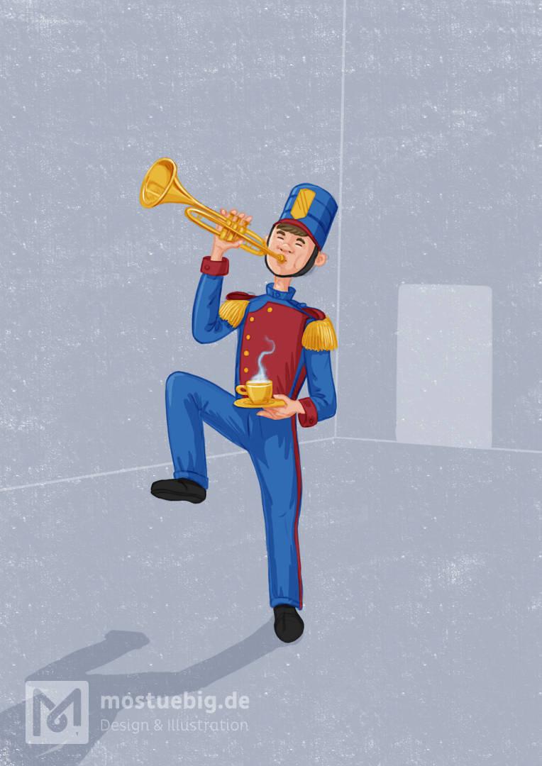 Illustration eines Marchingband Mitgliedes mit einer Trompete. In der Hand hält er eine Tasse Tee